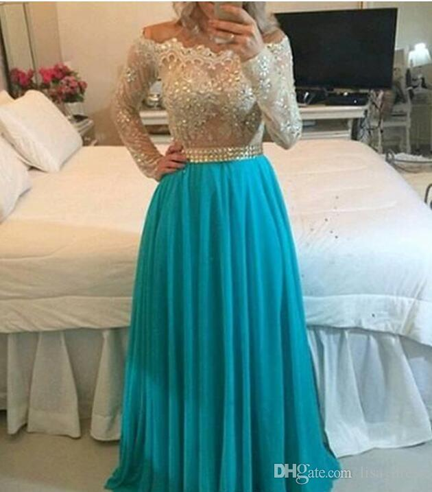 Off the Shoulder High Quality Lace Pearl Beaded Long Sleeves Chiffon Skirt Floor Length A Line evening Prom Dresses