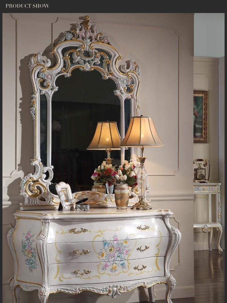 European Baroque Classic Furniture  French Royalty Classic Bedroom  Furniture   Cracking Paint Dressing Table And Mirror