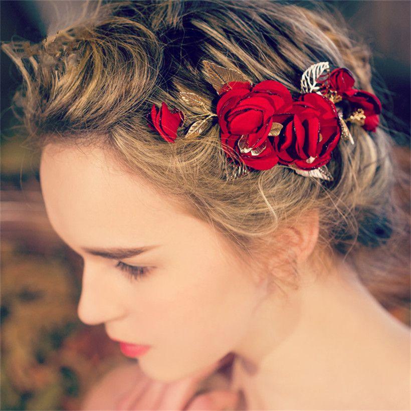 Vintage Wedding Bridal Red Rose Flower Headpiece Hair Accessories Clip Princess Crown Tiara Headband Comb Gold Leaf Jewelry Wholesale Pins