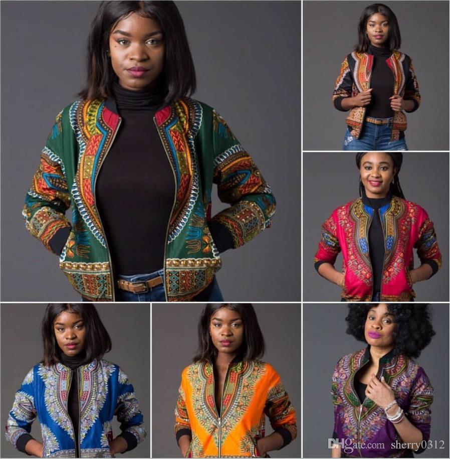 Africain Imprimé Veste Bomber Femmes Automne Hiver Manches Longues Zip Up Manteau Indie Folk Femme Slim Casual Vintage Manteaux Dashiki Baseball Veste