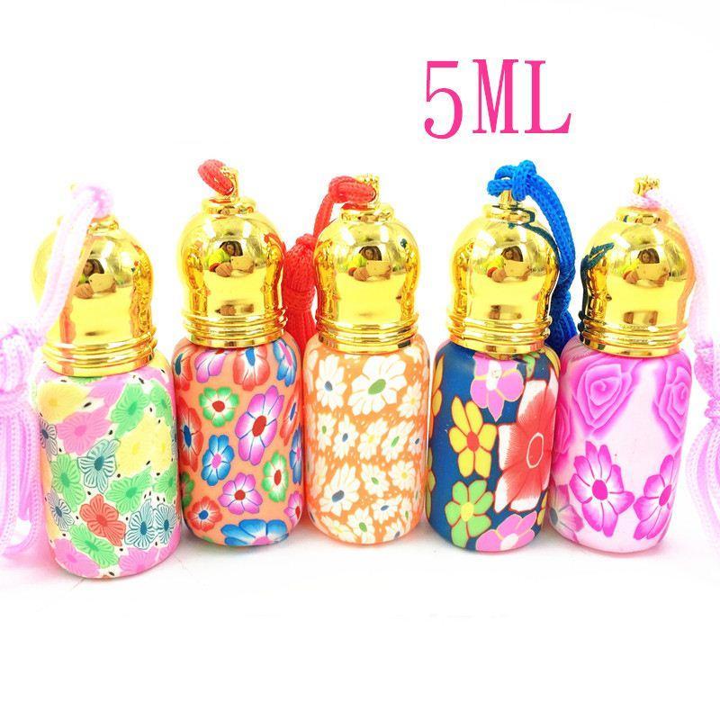 5 ملليلتر البسيطة الزجاج عطر زجاجة لون زهرة الأسطوانة أغطية فارغة إعادة الملء زجاجة ل ماكياج النساء تفضل 50pcs / lot FZ325