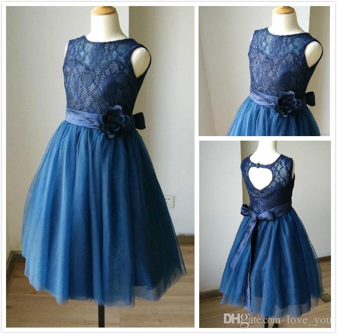 Navy Blue Lace Tulle Sweetheart Keyhole Flower Girl Dress Kids Children  Junior Bridesmaid Dress With Navy Sash Detachable For Wedding Colored  Flower
