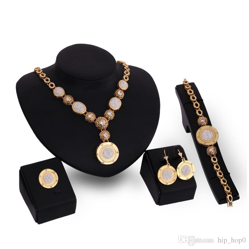 Geometry Wedding Jewelry Sets Chunky Chain Statement Necklace Earrings Bracelet Ring 18K Gold Plated Jewelry Sets For Women