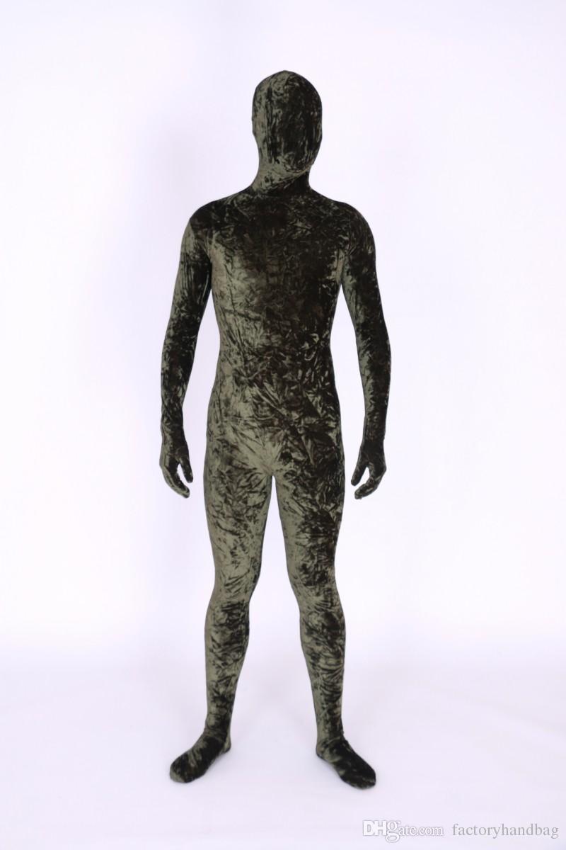 2019 parágrafo de veludo marrom spandex de corpo inteiro / Lrcra Zentai traje com calças justas de terno de corpo de S-XXL Fanny