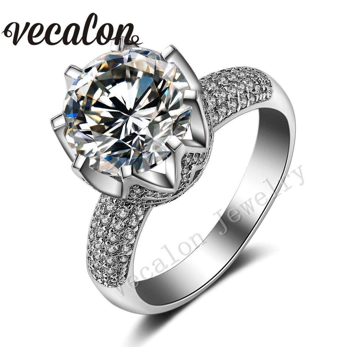 Vecalon Luxury Design Set di fede nuziale per donna taglio rotondo 6ct diamante simulato CZ 925 Anello in argento sterling femmina