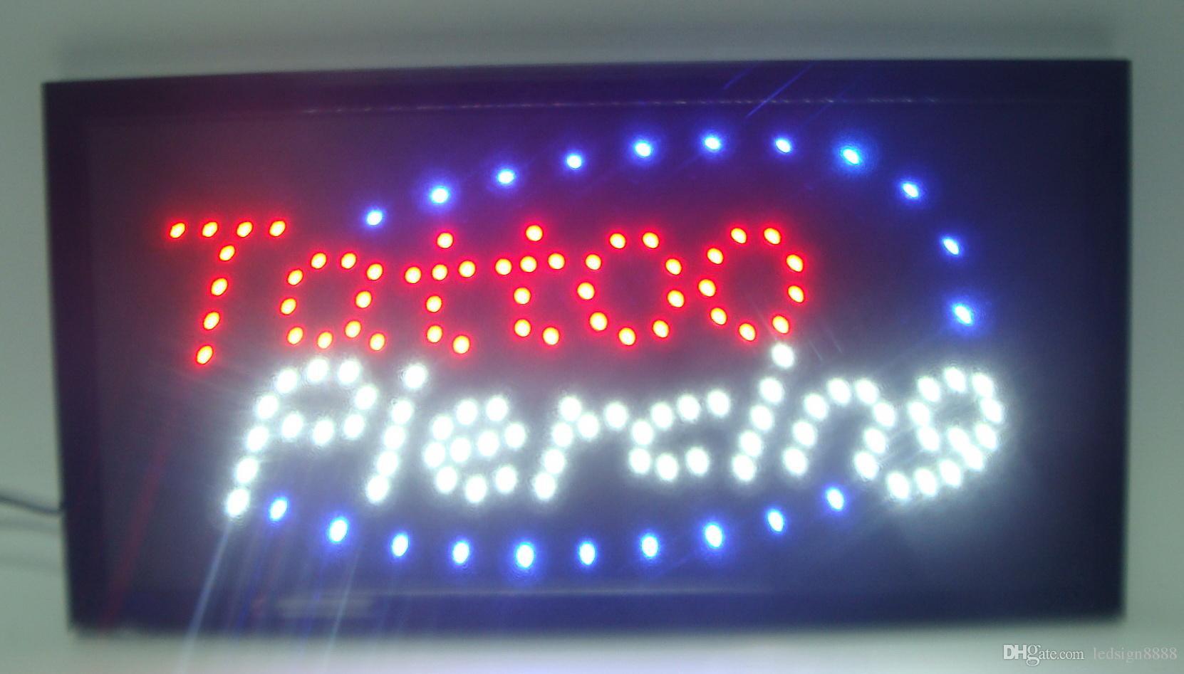Herstellung 10x19 inch Semi-Outdoor Ultra Helles Lauf Tattoo Piercing Shop LED-Zeichen