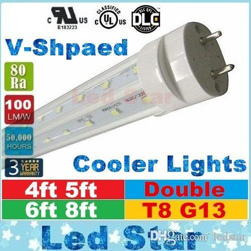 tubi a forma di v luci a led 4ft 5ft 6ft 8ft t8 g13 doppie linee tubi a luce led per illuminazione più fredda DLC AC 85-265V