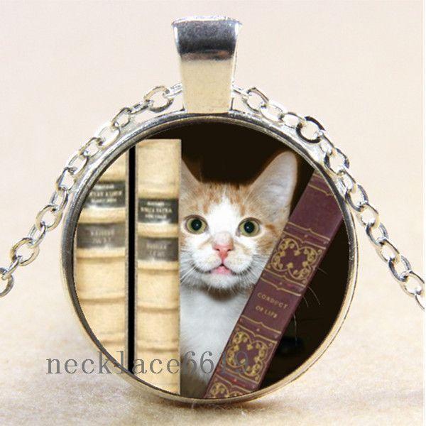 Vintage Black Cat And Book Cabochon Glass Bronze Chain Pendant  Necklace