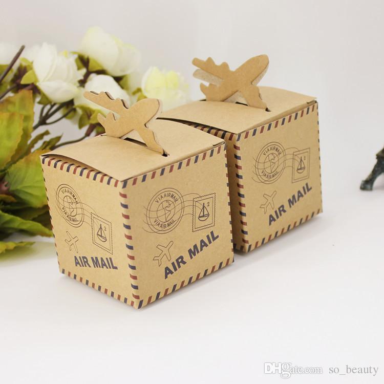 100 pcs Avião Kraft Caixas de Doces Plane Wedding Favor Suportes de Natal Aniversário Party Papel Caixa de Papel