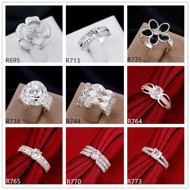 حار بيع المرأة 925 خواتم الفضة الاسترليني 10 قطعة DFMR49 أنماط متعددة ، وتجارة الجملة عالية الجودة الأحجار الكريمة الأزياء مزيج من الفضة خاتم 925 النظام