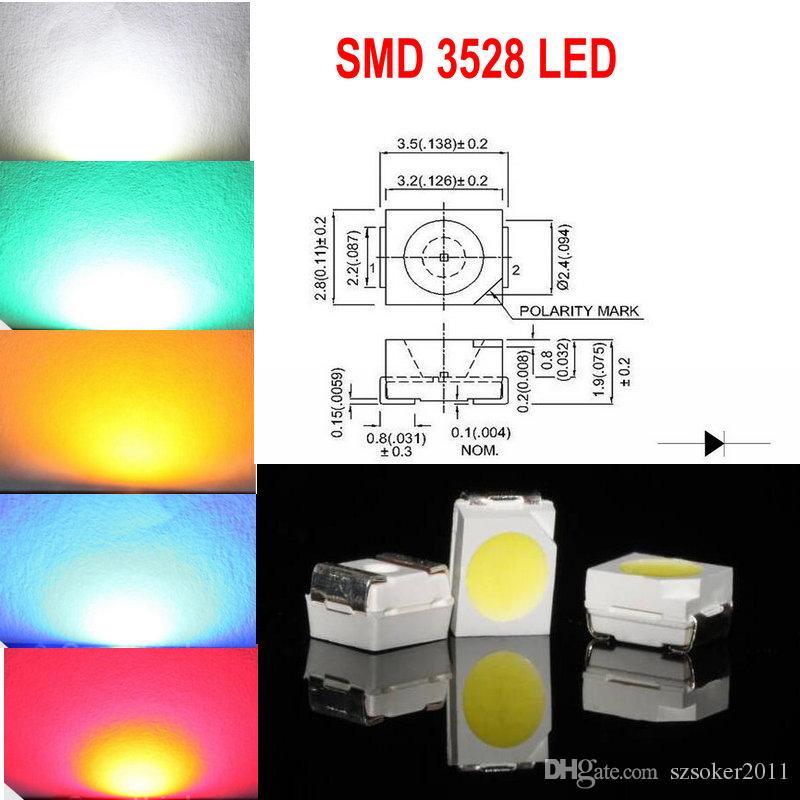 1000 stücke SMD 3528 (1210) Weiße rote blaue grüne gelbe LED-Lampendioden ultra hell