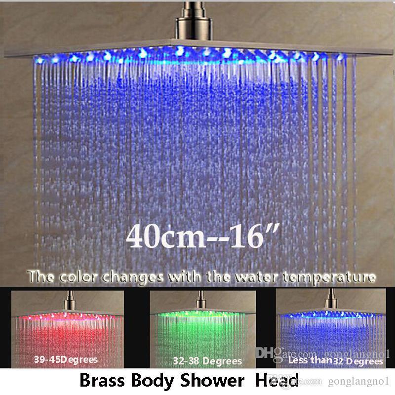 """럭셔리 천장 / 벽 마운트 16 """"LED 라이트 샤워 헤드 욕실 큰 레인 폴 샤워 헤드 솔질 된 니켈 마감"""