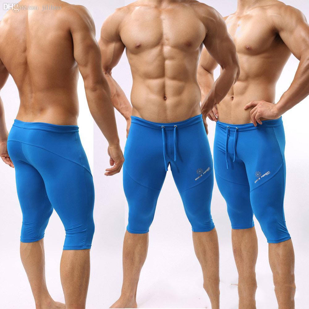 الجملة-الرجال في الرياضة نحيل ضيق قصير الجري sweatpants طويلة كمال الاجسام القتال صالح الجاف رياضة التدريب الداخلي للرجال