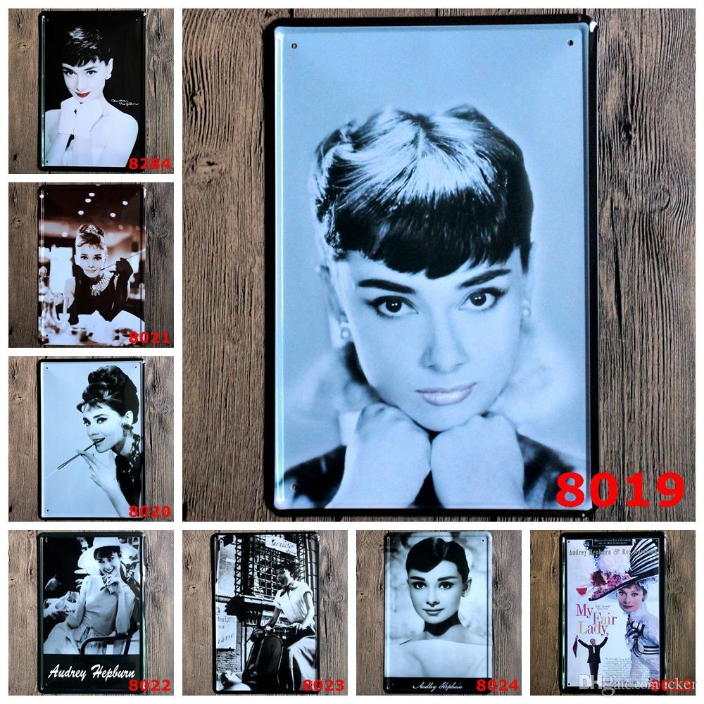 2016 20 * 30 cm retro Audrey Hepburn siempre clásico MY FAIR LADY Cartel de chapa Cafetería Restaurante Restaurante Arte de la pared decoración Bar Pinturas metálicas