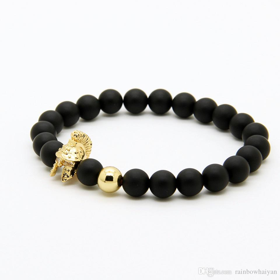 Mens Jewelry 10pcs/lot 8mm A Grade Matte Agate Stone New Roman Warrior Helmet Micro Paved CZ Beads Sparta Bracelets
