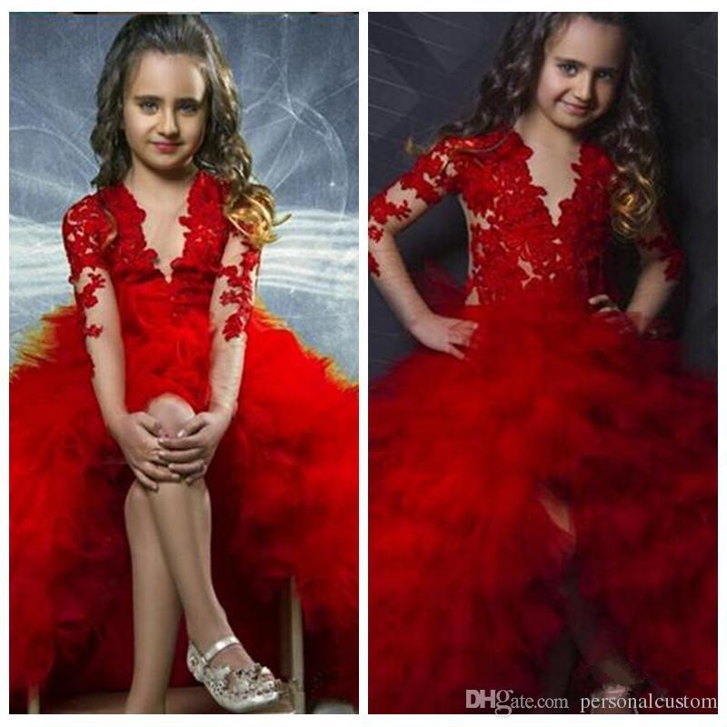 2017 O Neck Sheer Long Sleeves Red Ball Gown Flower Girls Dresses ...