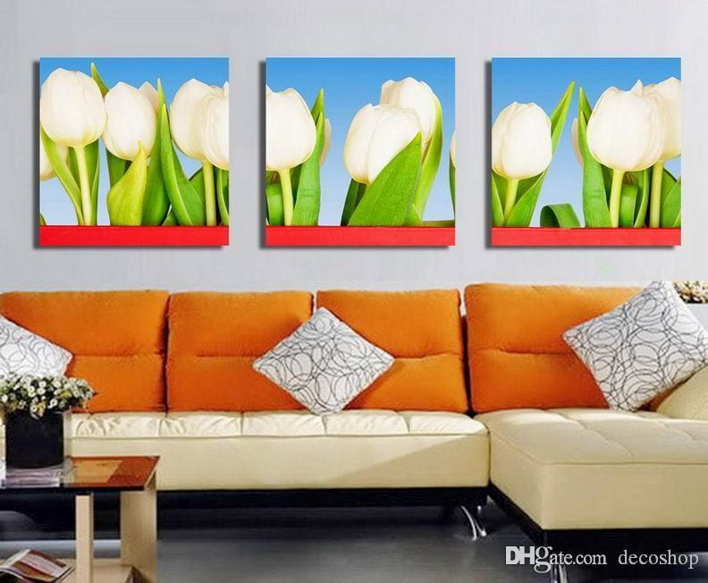 Tulipa Gesneriana Flor moderna impressão Pintura Giclée em tela Wall Art decoração Home Set30414