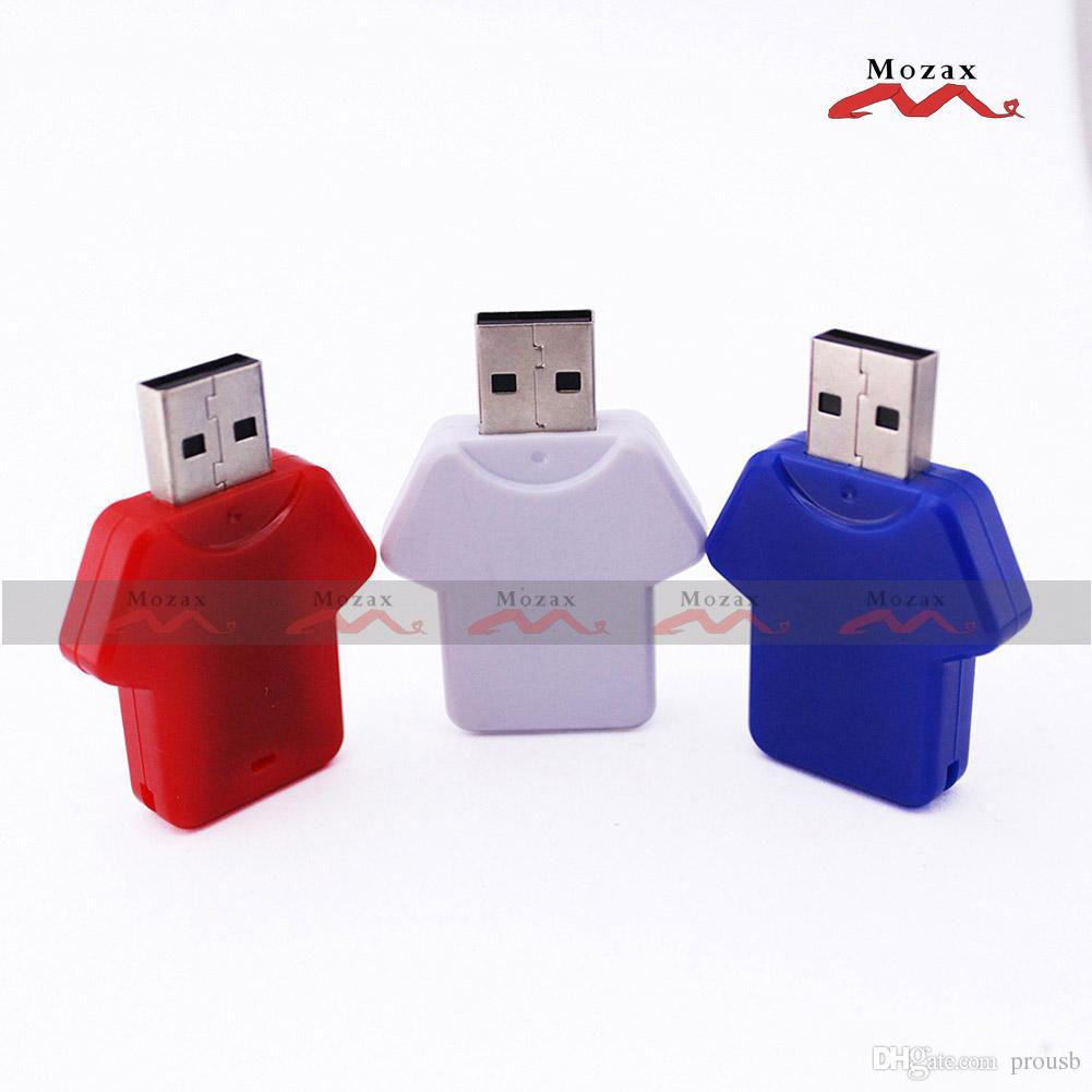Wholesales 100PCS 128MB/256MB/512MB/1GB/2GB/4GB/8GB/16GB Memory USB Flash Drive 2.0 T-shirt Design Suit for Color Logo Print