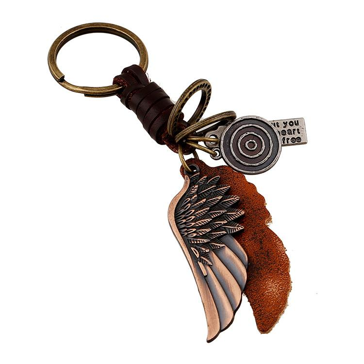 Wholesale Fashion Jewelry Key Chains Wings Alloy Key Buckles Vintage Leather Men's Personality Casual Punk Key Buckle K001