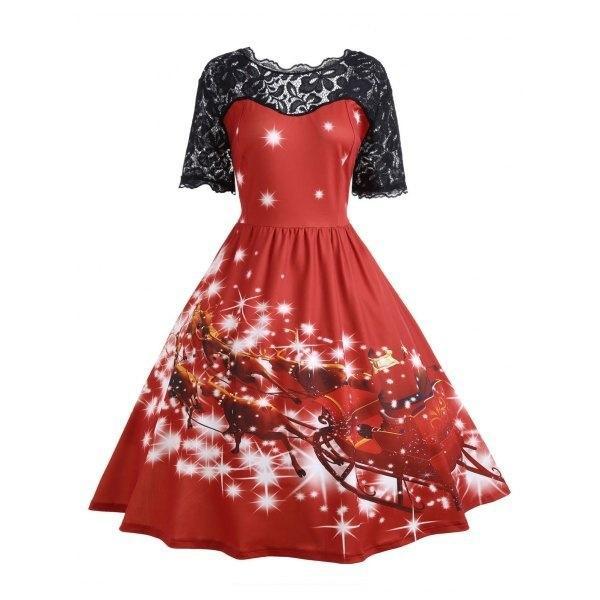 Compre Moda Mujer Vestidos De Regalo De Navidad 2018 Manga Corta De Encaje Túnica Vestidos De Fiesta Retropatchwork Damas Vestidos Casuales Camiseta