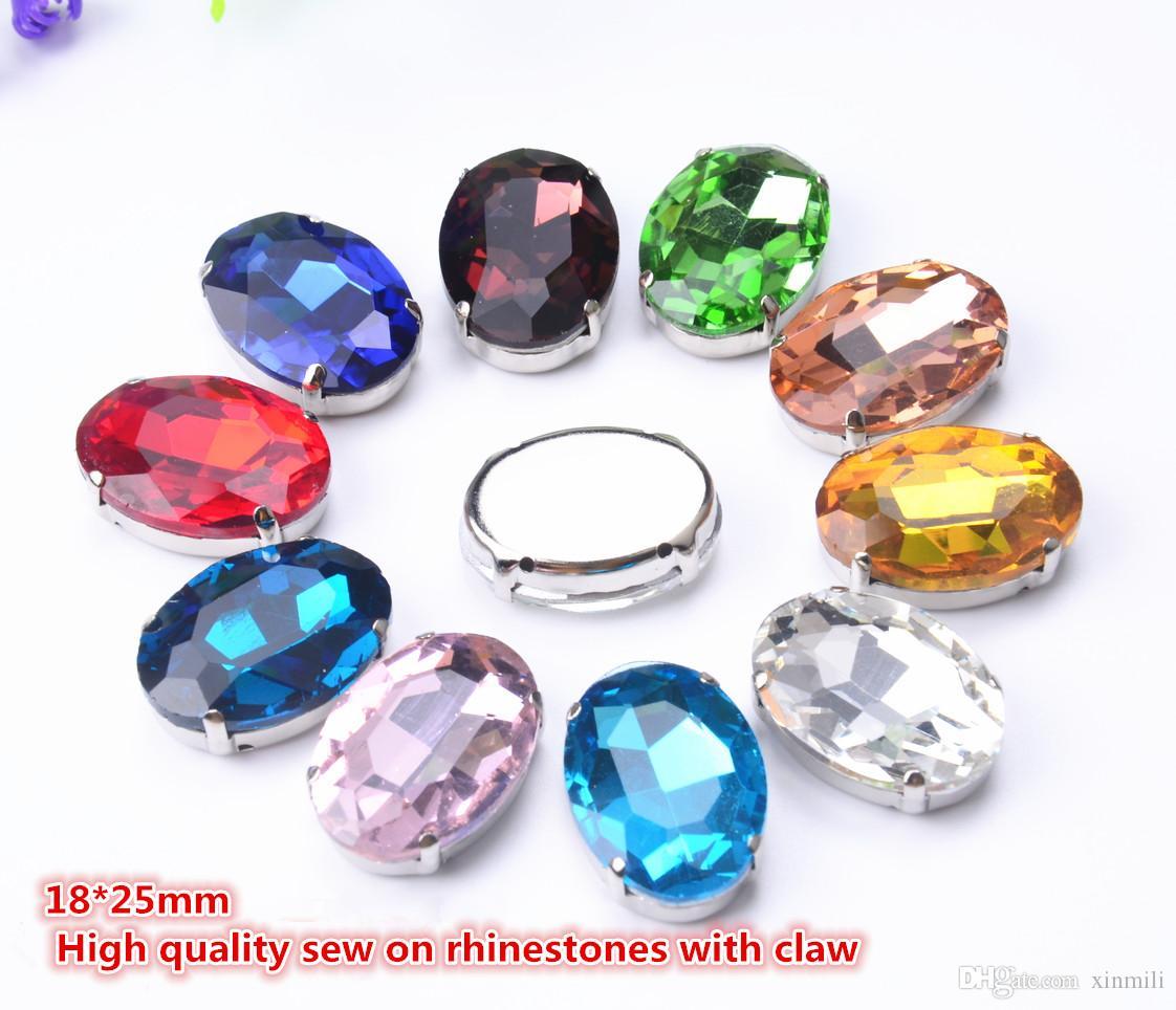 expédition gratuite! fantaisie 18 * 25mm 25pcs / lot coudre ovale sur perles de cristal avec sertissage griffe en métal, boutons de pierre de perles de couture