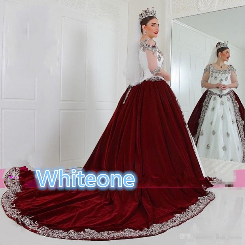 Discount Vintage Plus Size Wedding Dresses With Illusion Half Sleeves  Burgundy Velvet Applique Beaded Crystals 2016 Custom Made Gothic Bridal  Gowns ...