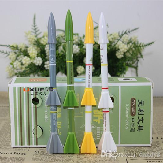 プロモーション! 36pcs /ロット新着新規ノベルティミサイルモデルロケットニュートラルペン、韓国クリエイティブステーショナリージェルペン、学用品学生賞