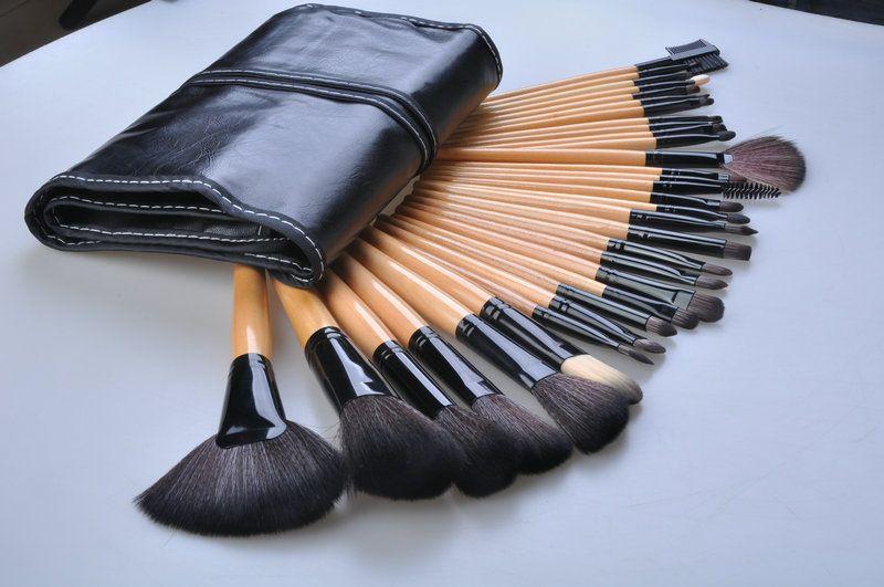 32 pcs cor de madeira pintura pincel de maquiagem blush escova kit de maquiagem modelos portáteis de alta qualidade escova de maquiagem pincel de maquiagem