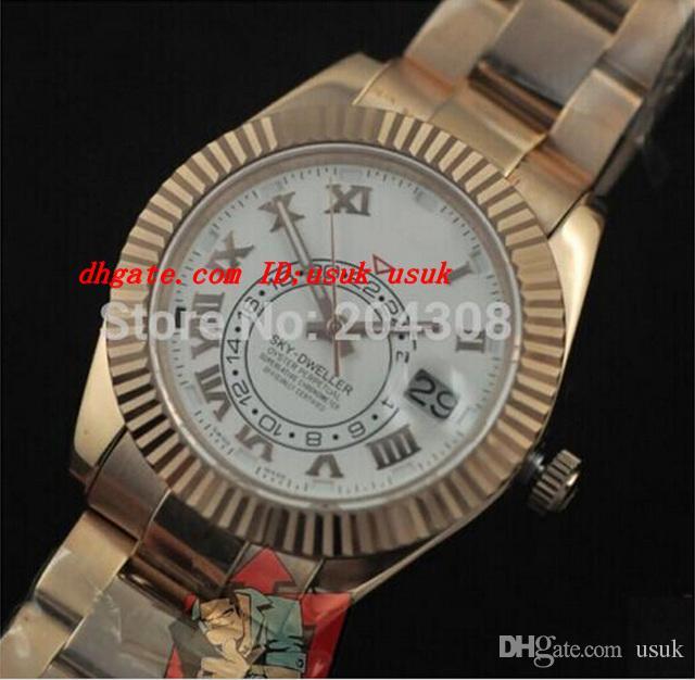 Luxus Armbanduhr Brand NEUE 326939 18K Rose Gold Armband Männer Sport Armbanduhren Luxus weißes Zifferblatt Automatische Herrenuhr