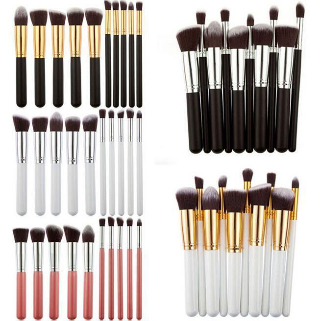 Profissional 10 pcs Preto / Ouro Pincéis de Maquiagem Set Beleza Fundação Kabuki Escova Cosméticos Make up Brushes Kit Ferramentas