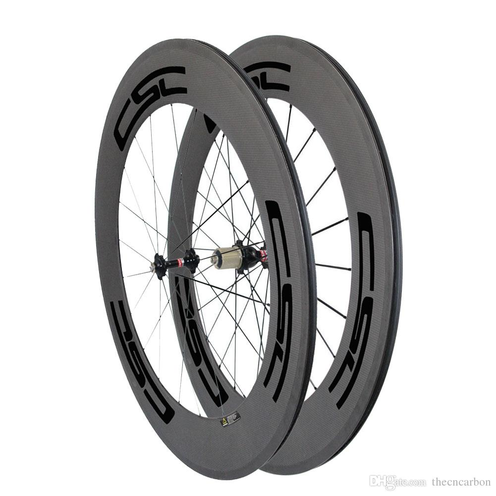 Carbon Road Wheels 88mm Depth Tubular Clincher Profile Standard bicycle Wheelset