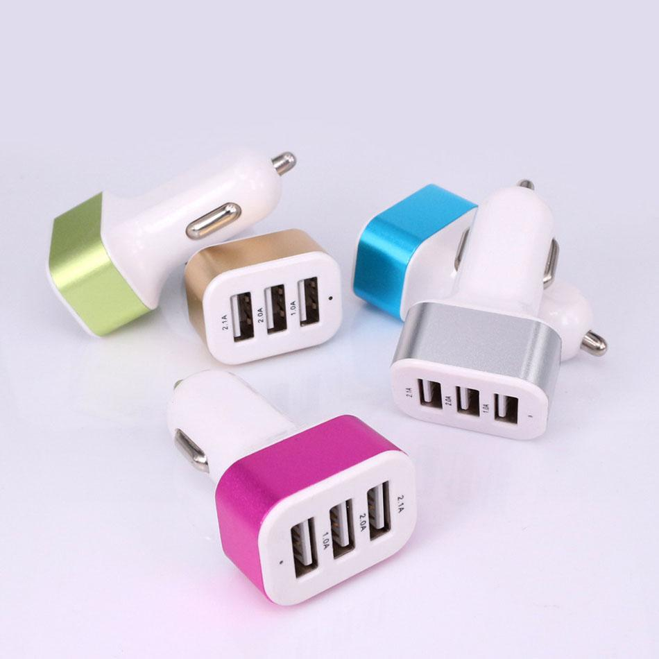 Triple Universal USB Car Charger 3 Port Car-charger Adapter Socket 2A 2.1A 1A Car Styling USB Charger 100pcs/lot Free DHL Shipping