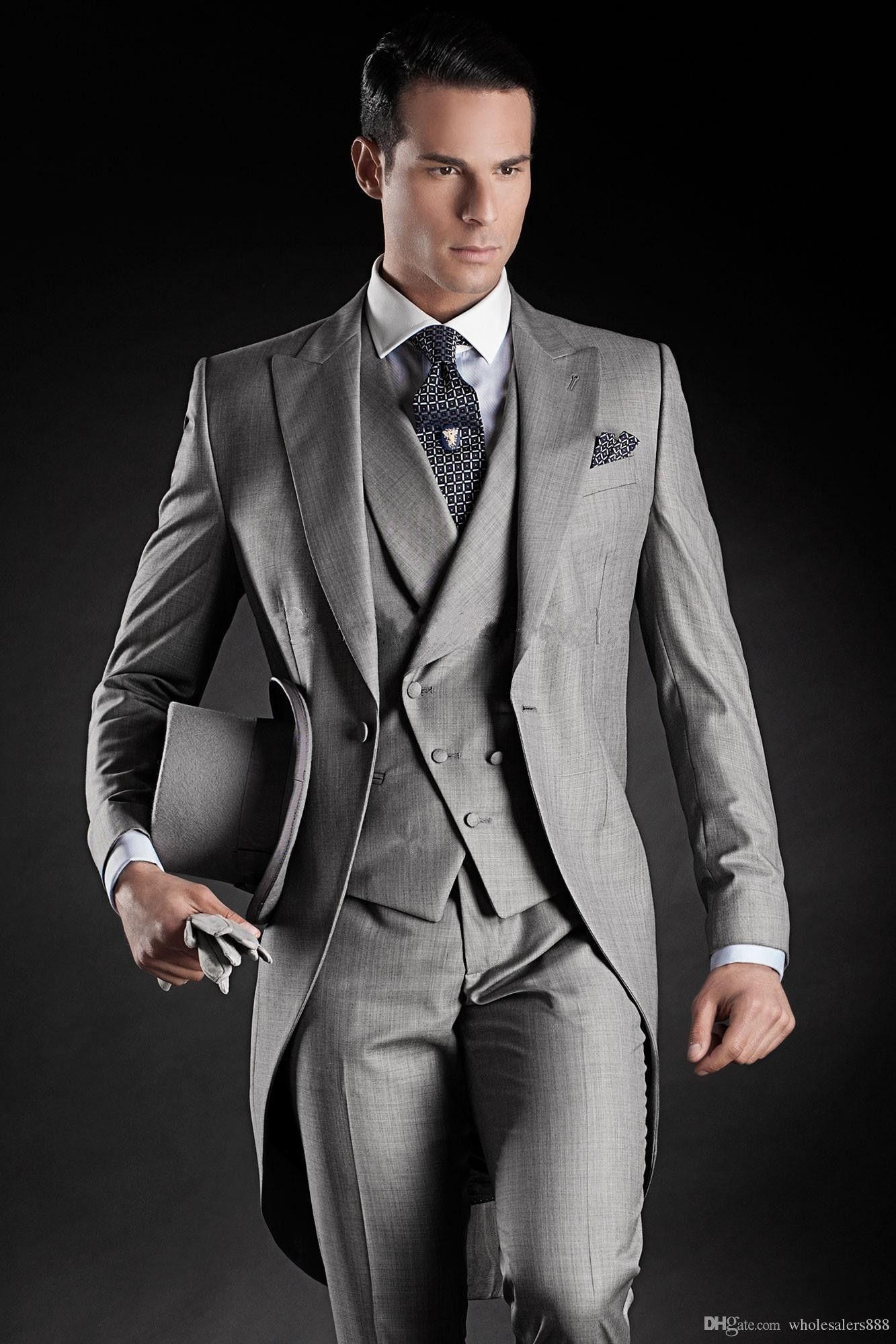 Smoking da sposo su misura Groomsmen stile Morning 14 Best man Peak Risvolto Groomsman da uomo Abiti da sposa (giacca + pantaloni + cravatta + gilet)