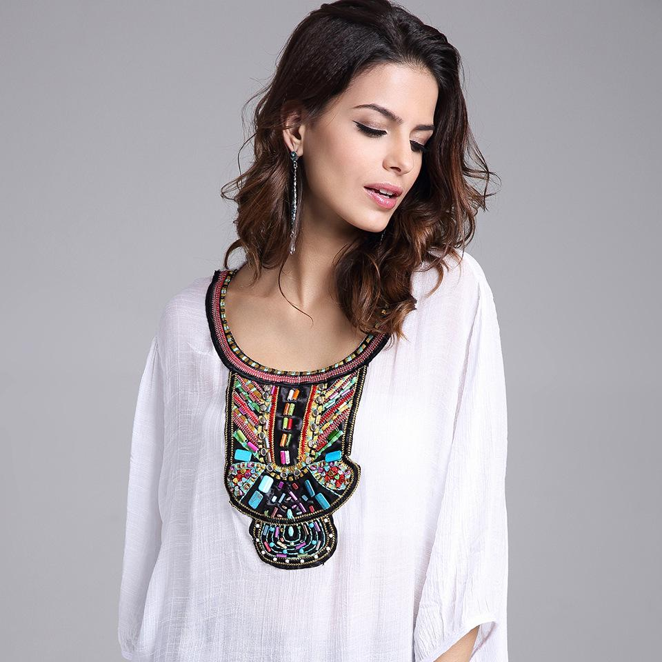 2019 Mexican Clothes 2016 Women Top Shirt Short Sleeve Embroidered Blouse  Beading Cotton Plus Size Loose Peasant From Gqd2016, $8.7 | DHgate.Com