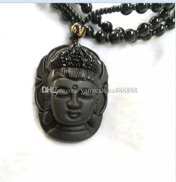 Collana di ossidiana naturale Moda nera Ruyi Guan Yin Ciondolo per donna Uomo Vintage Fine giada Ornamenti gioielli D3