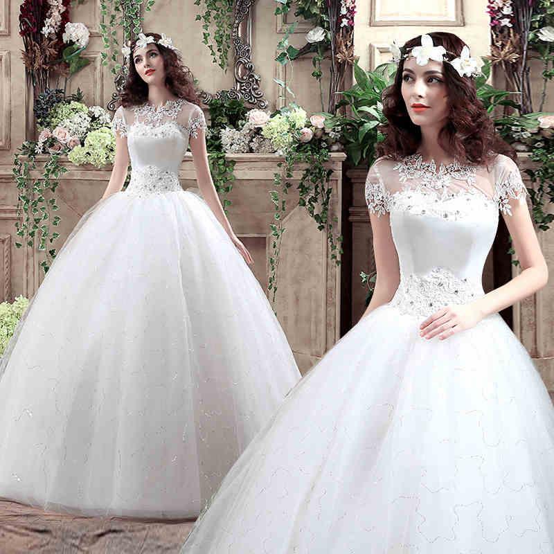 Discount Luxurious White Bateau A Line Wedding Dresses For Women ...