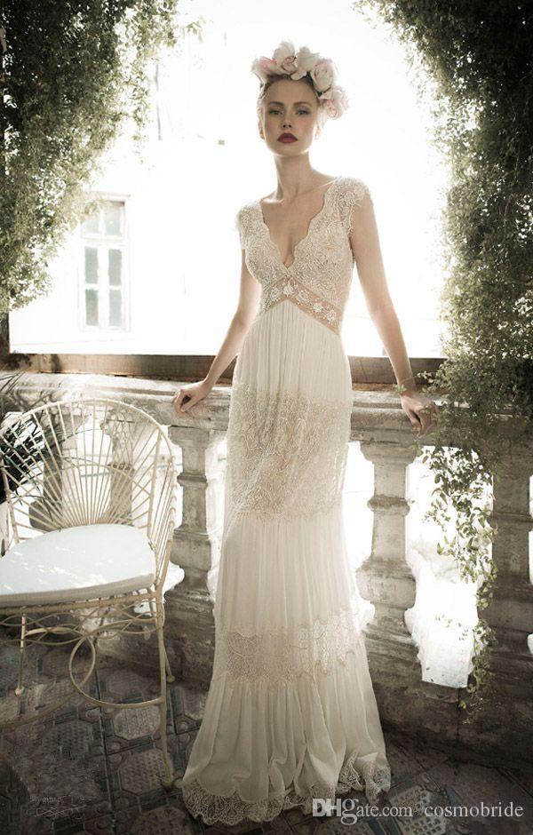 Discount Vintage Lace Deep V Neck Wedding Dresses Beaded Open Back ...