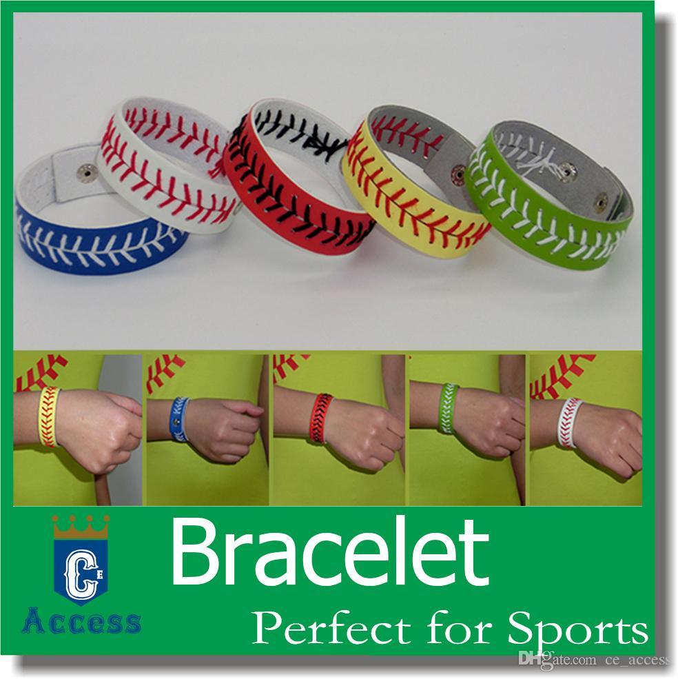 Kırmızı Dikiş ve Yapış Kapatma Spor Takı ile Deri Beyzbol veya Softbol Bilezik