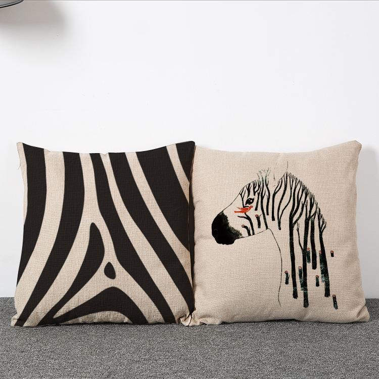 4a25a02ffb952f Compre 45 Cm Europeu Zebra Zebra Travesseiro De Linho De Algodão Tecido  Travesseiro De Cintura 18 Polegadas Moda New Home Presente Decoração De ...