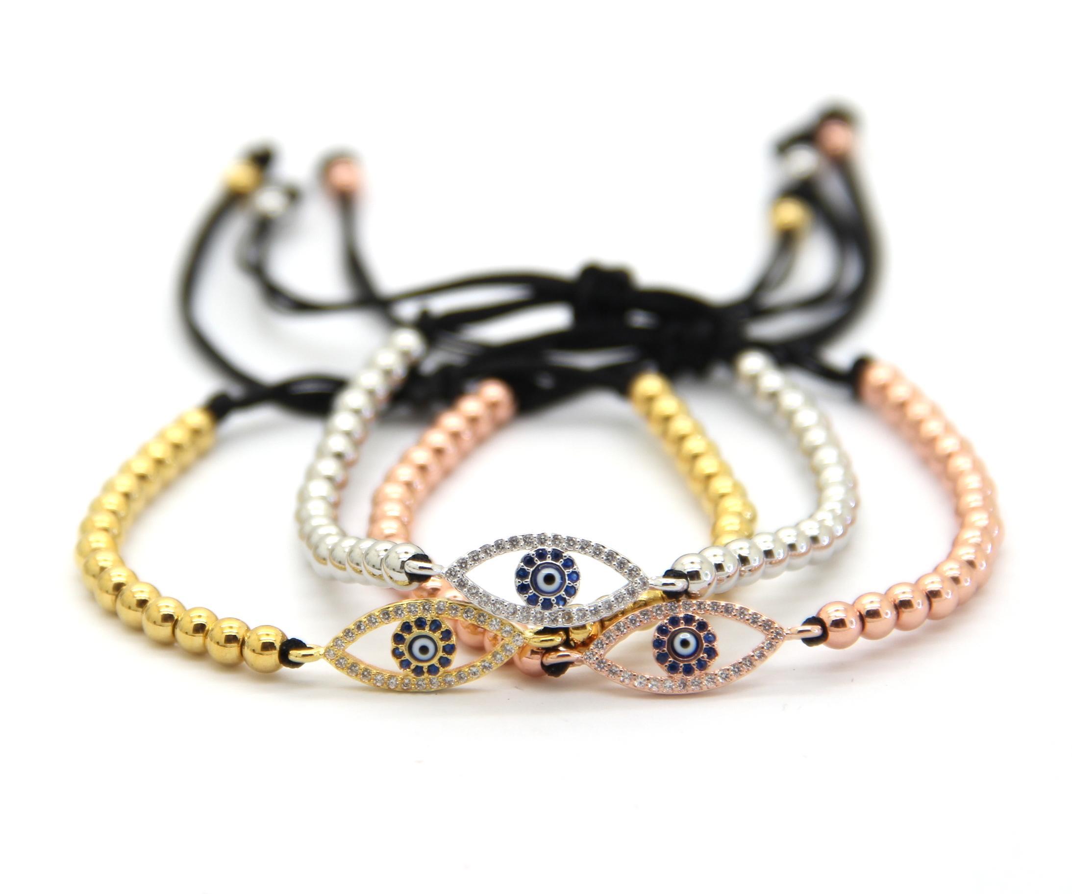 Bijoux À La Mode En Gros Fabriqué Par 4mm Ronde Bronze Perles De Mode Micro Pave CZ Oeil Tressage Macramé Bracelets