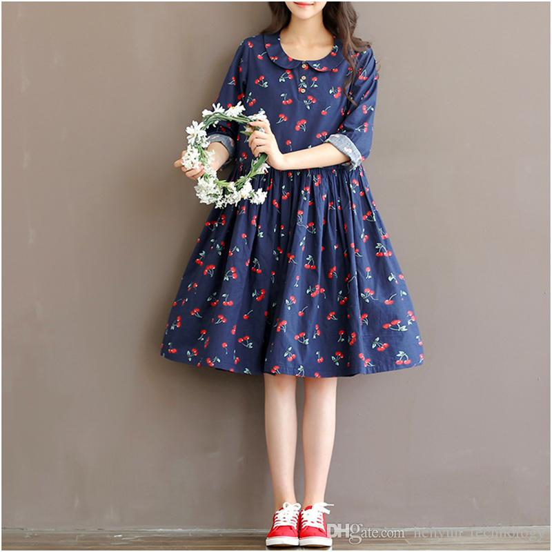 2021 Cute Fruit Printing Cotton Linen Maternity Dresses Autumn Long Sleeve Clothes For Pregnant Women Clothing For Pregnancy 2016 From Henyun Technology 17 94 Dhgate Com