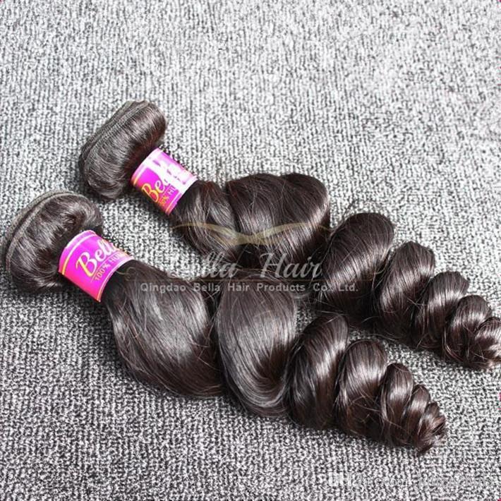 أفضل بيع 4pcs / lot 9A الشعر التمديد 10-24 بوصة اللون الطبيعي الأسود متموجة فضفاض موجة بيرو شعر الإنسان شحن مجاني