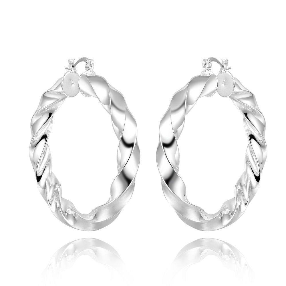 Factory direct wholesale 925 Sterling Silver smooth full twist U Shape Hoop Earrings