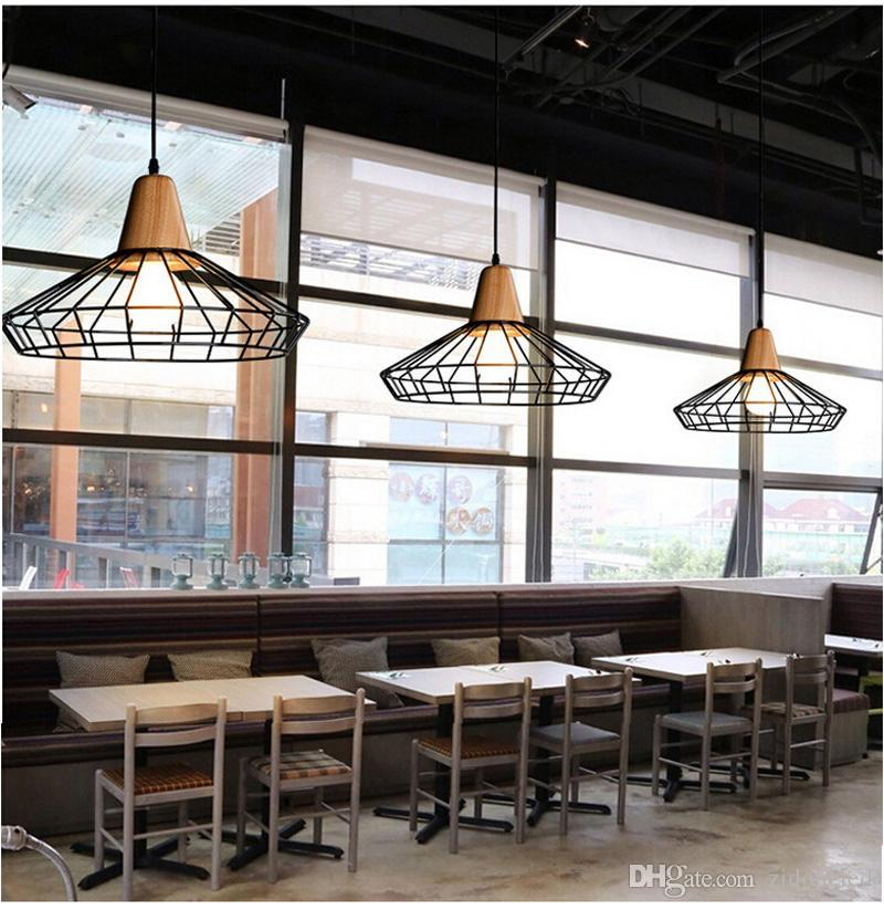 LOFT Pendentif en fer léger Vintage Éclairage industriel Landeliers en bois Bar Café Chambre à coucher Restaurant Nordic Country Style Style Fer suspendu lumière