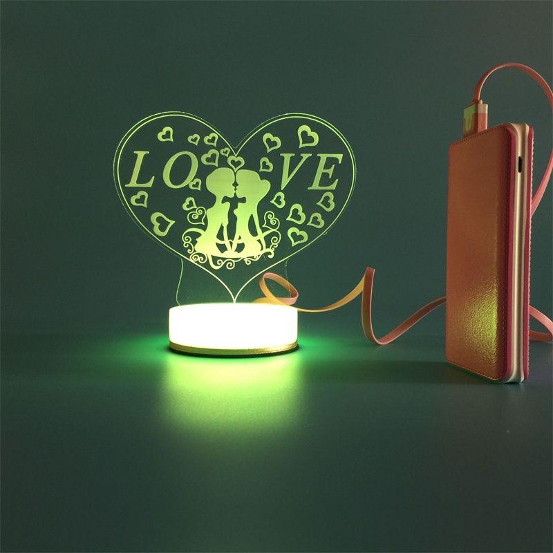 3d Small Desk Lamp Usb Bluetooth Love Art Colorful Diy Led Night Light Bedside Creative