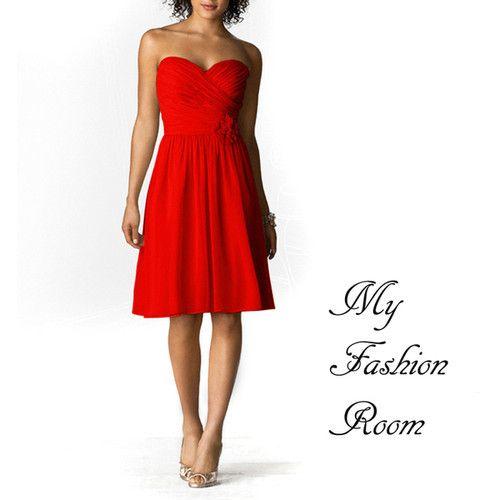 free shipping new 2018 hl dresses modest casual dresses Sunset Red Strapless short Chiffon 'Gemma' handmade hot Bridesmaid Dress