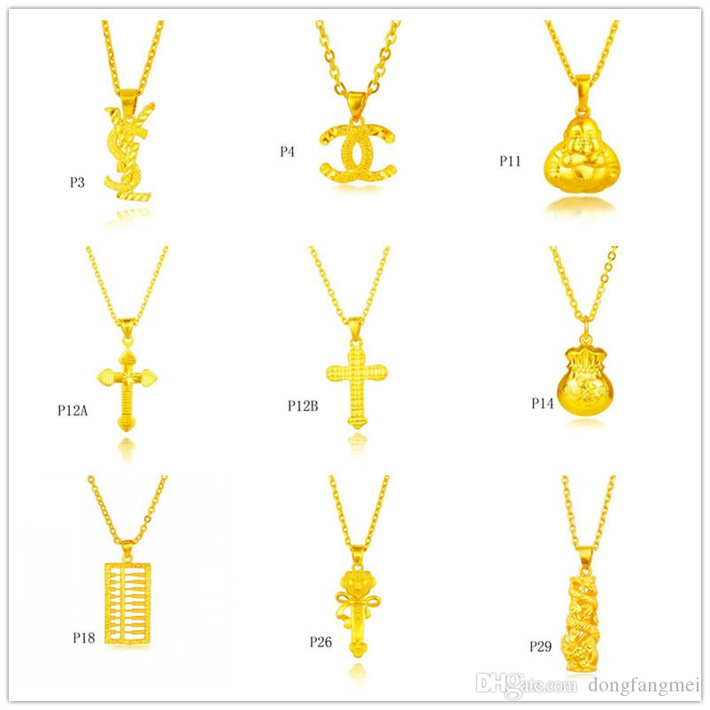 Wholesale fashion 24k gold pendant (not contain chain )9 pieces a lot mixed style, cross abacus Fukubukuro yellow gold pendant DFMKP9