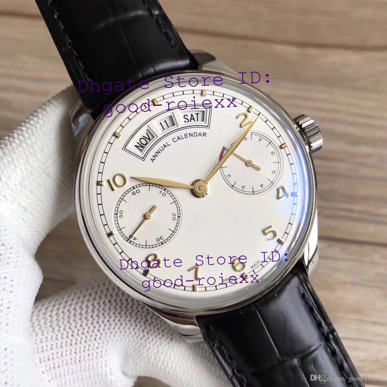 Dress Mens Automatic Cal 52850 Watch Men White Annual Calendar Day Time Power Reserve Sapphire Leather Watches Golden Hour Hand Wristwatches