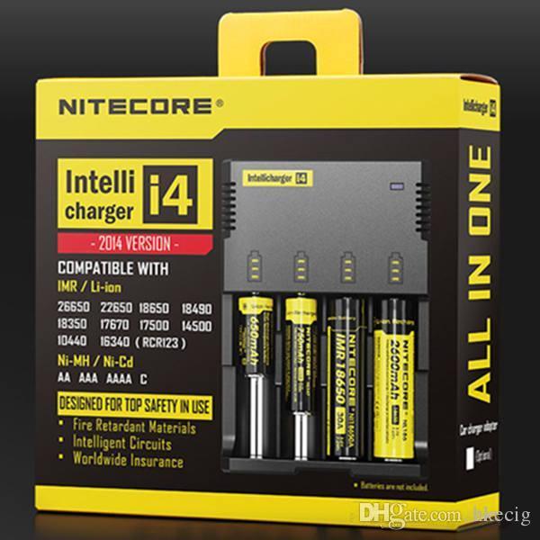 Nitecore I4 Ladegerät Universal Charger Drop Ship 4 in 1 Intellicharger für CR123A / 16340/18650/18500/14500/26650 Batterie E Zigarette auf Lager