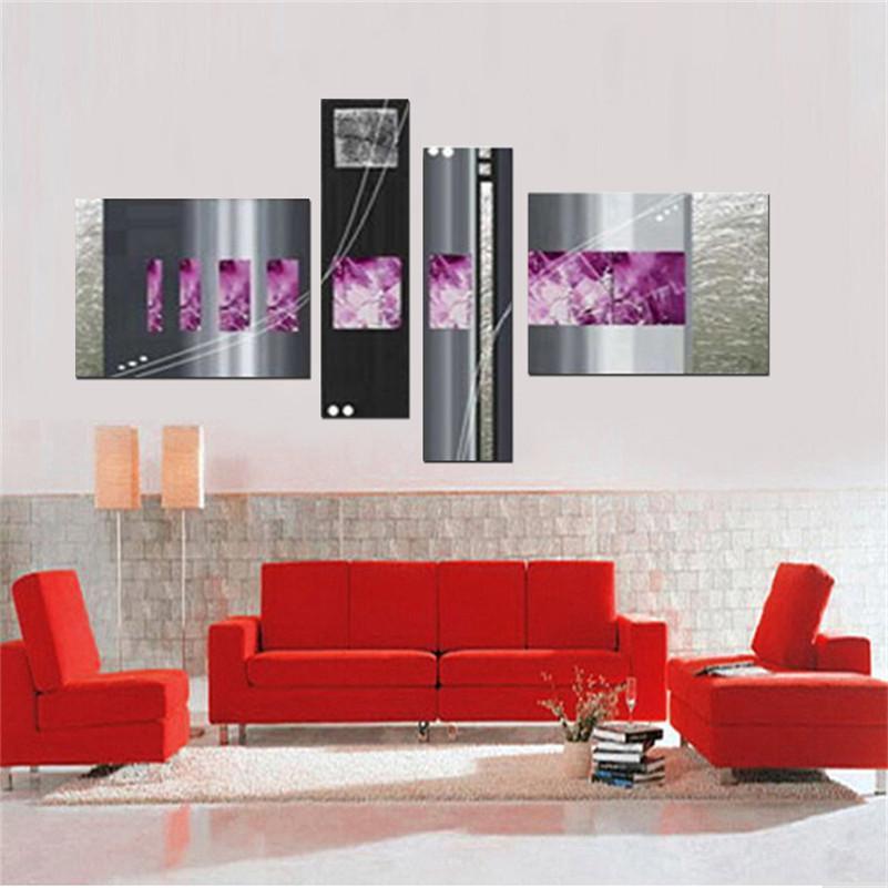 Handgemachtes 4pcs / set Silberbarren moderne abstrakte Wandkunst-Ölgemälde auf den einzigartigen Geschenken der Leinwandbilder für Wohnzimmer
